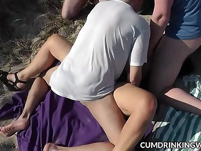 Slutwife Marion fucked and creamed by strangers on public beaches