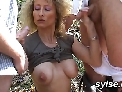 Lesbians in public marina with sex toys before dogging gangbang in forest